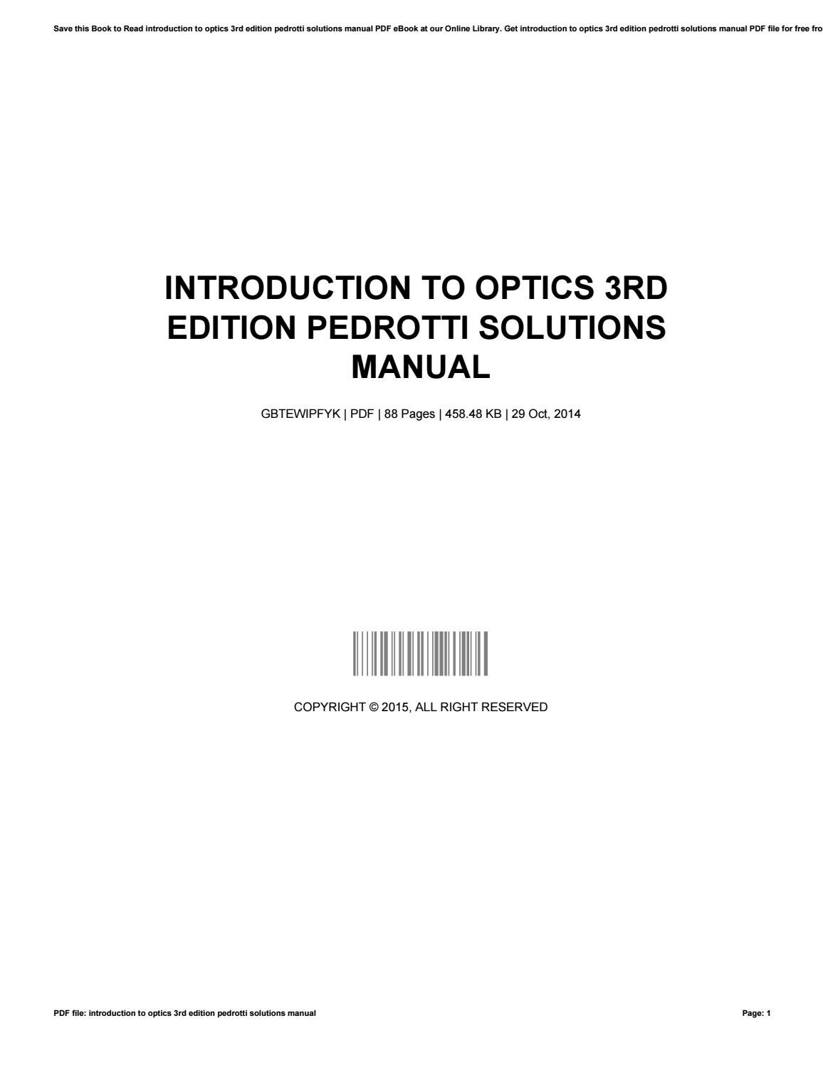 introduction to optics 3rd edition pedrotti solutions manual pdf