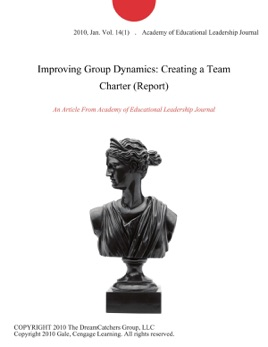 improving group dynamics creating a team charter pdf