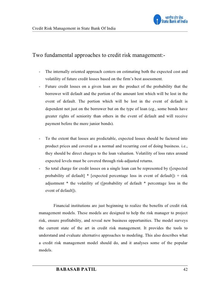 mba project on credit risk management in banks pdf
