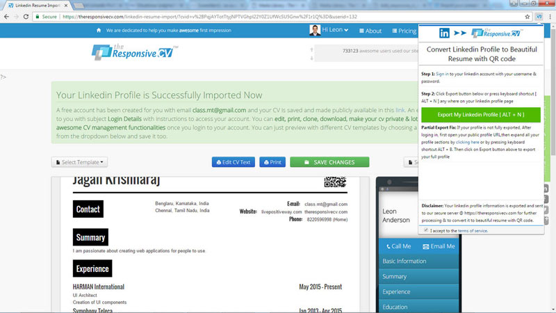 how to export linkedin profile as pdf