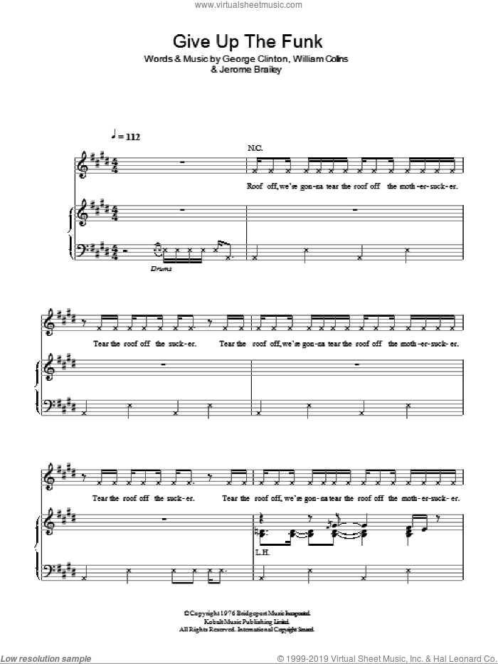 give up the funk shet music pdf