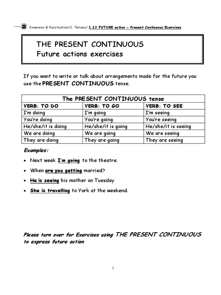 present simple and present continuous exercises pdf with answers