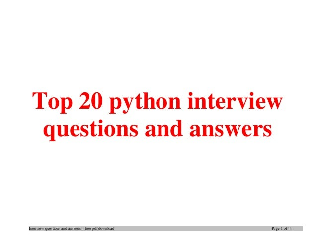 python interview questions and answers for experienced pdf