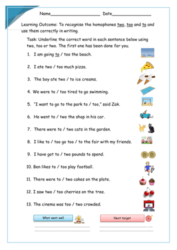 to too two worksheet pdf