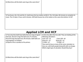 hcf and lcm worksheets with answers pdf
