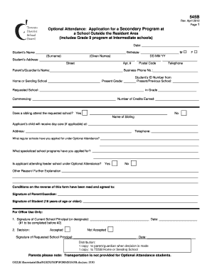 optional attendance form tdsb pdf