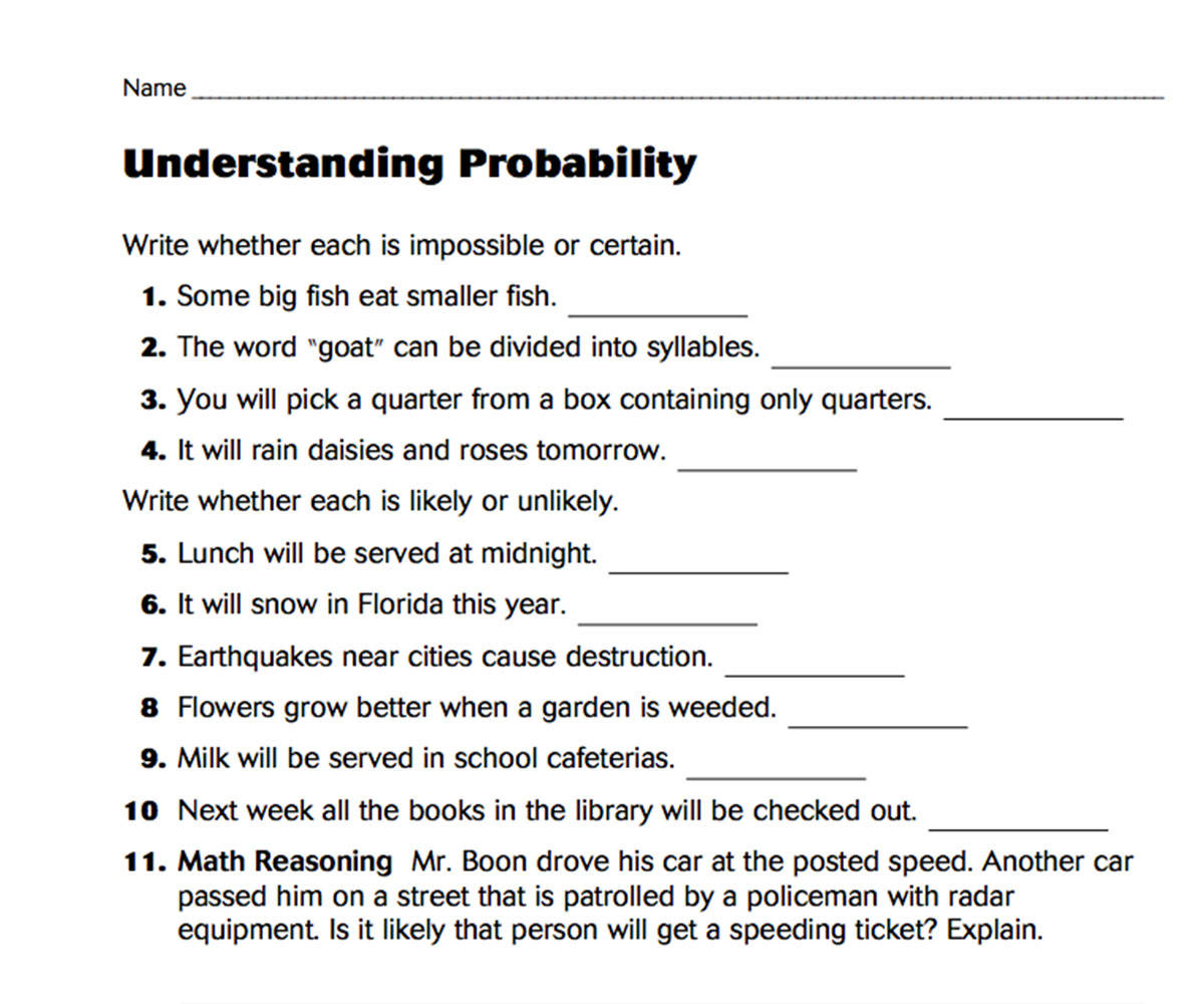 probability likely unlikely certain impossible worksheets pdf